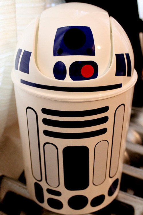 Use permanent markers or colored duct tape to turn a dollar store trash can into R2-D2.