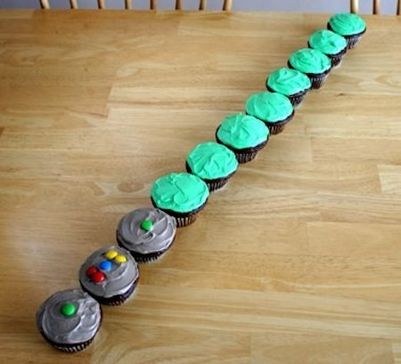 You can also turn colorful cupcakes into one long lightsaber.