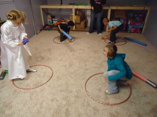 "Or, if you're looking for a no-contact game, have kids try to toss beanbags into each other's hula hoop ""force fields."""