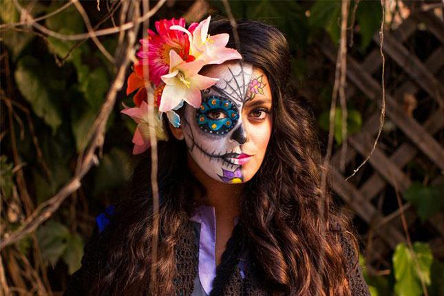 half sugar skull halloween makeup