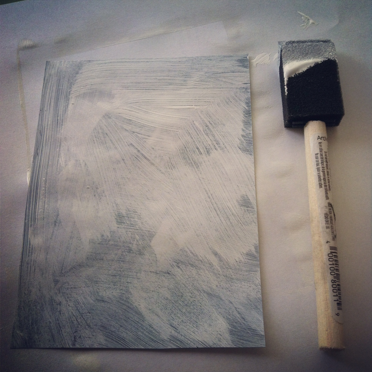 Photo to wood transfer at Sew Creative gesso step 1