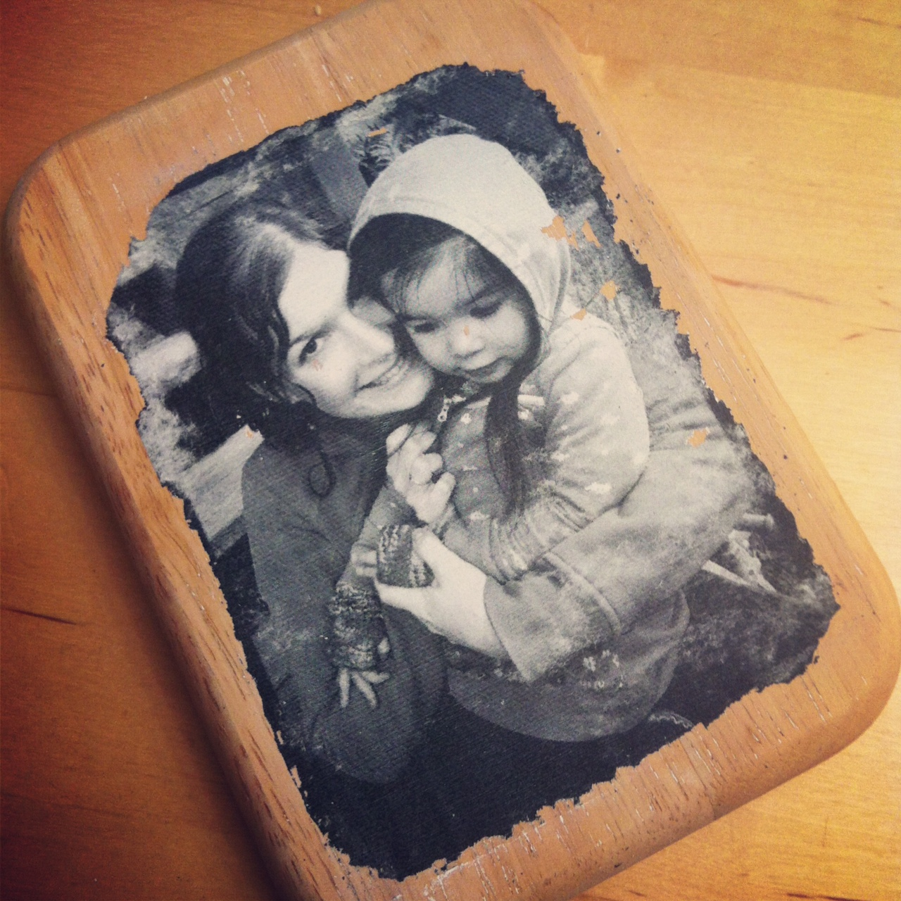 Photo to wood transfer at Sew Creative small