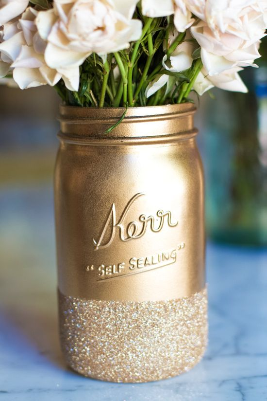Glitter Dipped Mason Jars!  #color mason #jars #diy