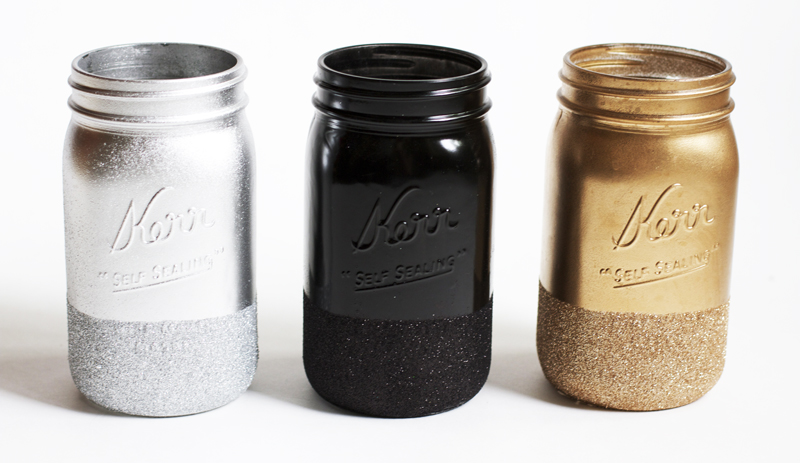 Glitter Dipped Mason Jars!  #color mason #jars #diy