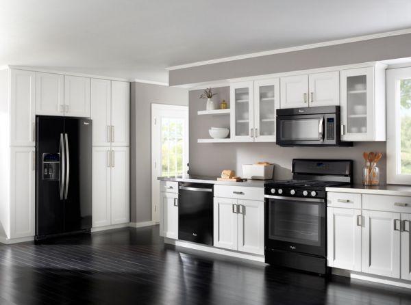 Kitchen Ideas Black Appliances -   Kitchen white cabinets & black appliances Ideas
