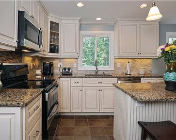 Kitchen white cabinets & black appliances Ideas