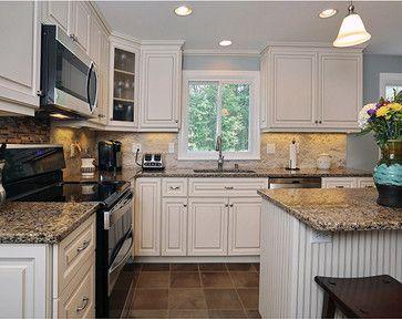 Kitchen white cabinets & black appliances Ideas