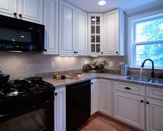 Kitchen white cabinets & black appliances Ideas | Promo Time