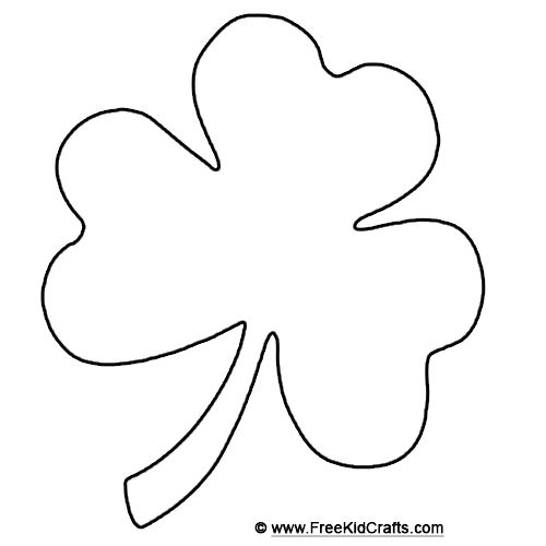 Shamrock template for St. Patricks Day crafts.
