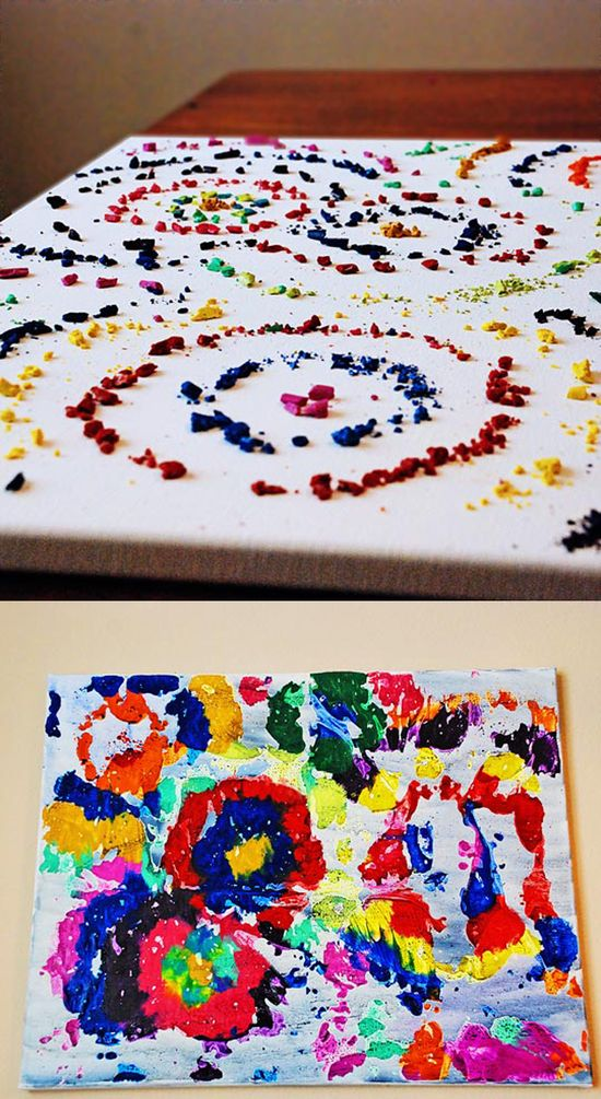 Different way of doing melted crayon art