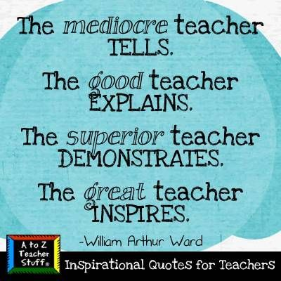 The mediocre teacher tells, the good teacher explains....