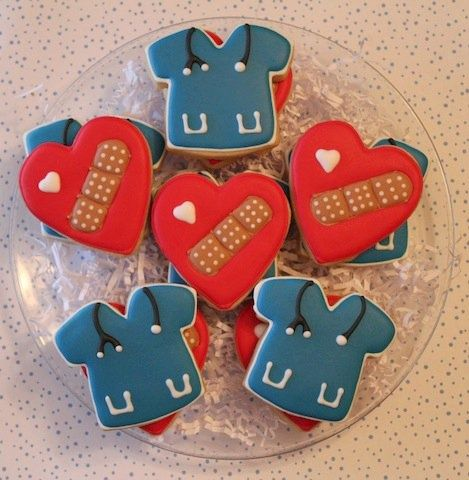 Nurse Cookies =). Cute- like the heart with bandaid; would be a cute cake pop too