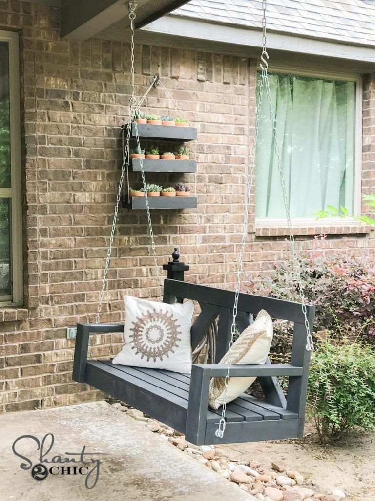 DIY Porch Swing: Only $40 For A Farmhouse Porch Swing -   16 diy Outdoor swing ideas