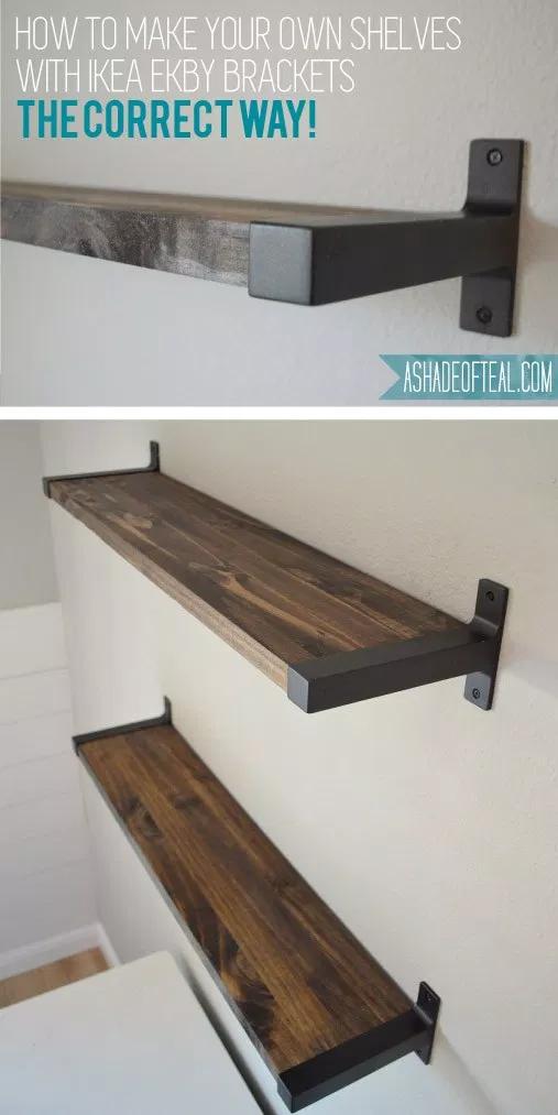 Rustic DIY Bookshelf with IKEA Ekby Brackets -   17 DIY rustic shelves ideas