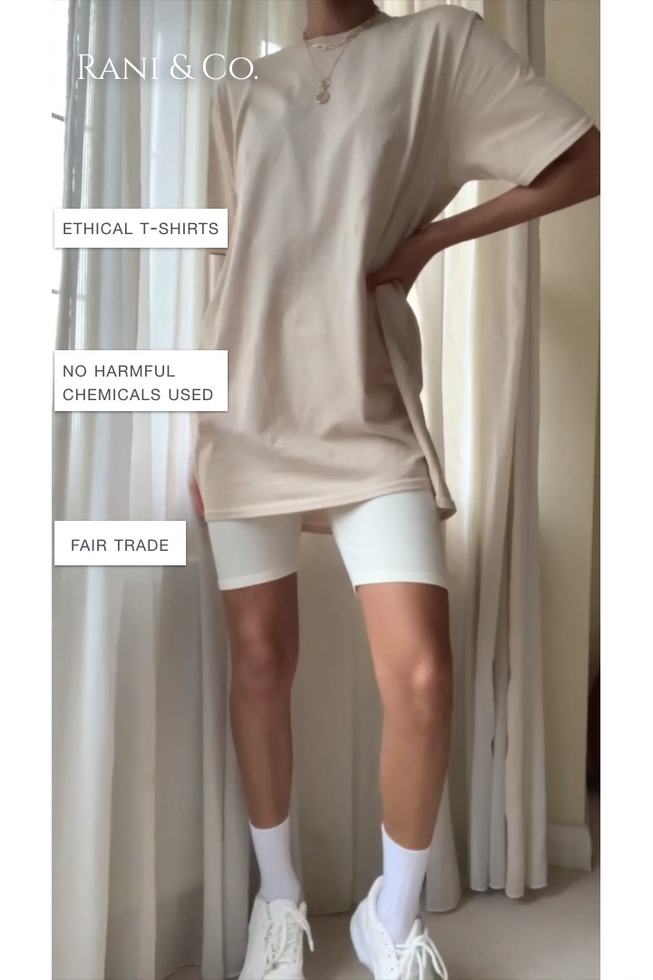 Sand Nude Oversized T-shirt, Ethical Tops-Rani & Co. -   19 style 90s videos ideas